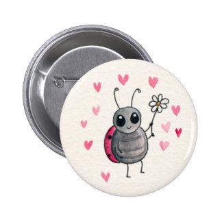 Cute Little ladybird or Ladybug with daisy Button