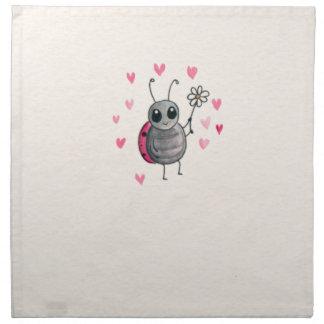 Cute Little ladybird or Ladybug with daisy Cloth Napkin