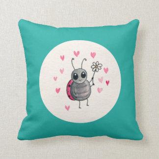 Cute Little ladybird or Ladybug with daisy Pillow