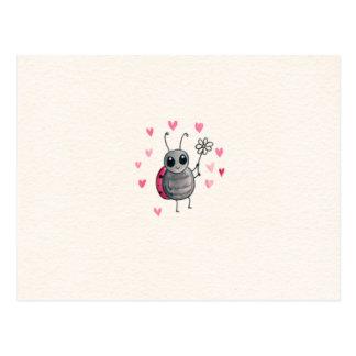 Cute Little ladybird or Ladybug with daisy Postcard