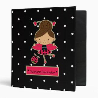 Cute little ladybug girl personalized avery binder
