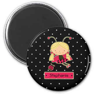 Cute little ladybug girl personalized magnet