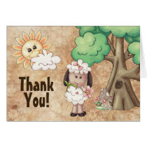 Cute Little Lamb and Flowers Sheep Thank You