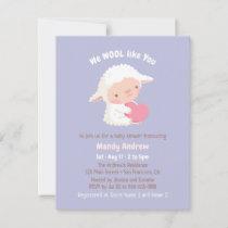 Cute Little Lamb Hugging Heart Baby Shower Invitation
