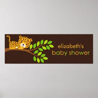Cute Little Leopard Baby Shower Banner Poster