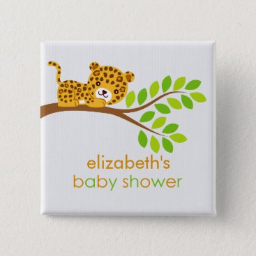 Toddler & Baby themed Cute Little Leopard Baby Shower Button