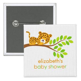 Cute Little Leopard Baby Shower Button