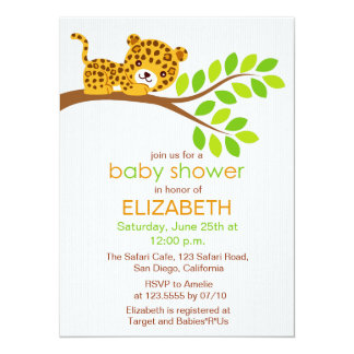 Cute Little Leopard Baby Shower Invitation