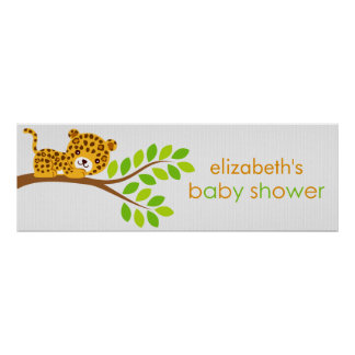 Cute Little Leopard Girl Baby Shower Banner Poster