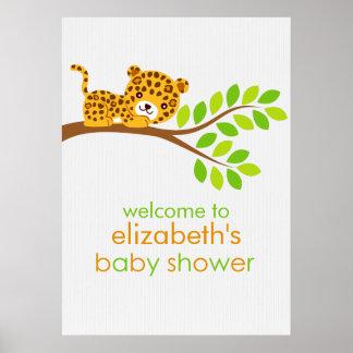 Cute Little Leopard Girl Baby Shower Poster