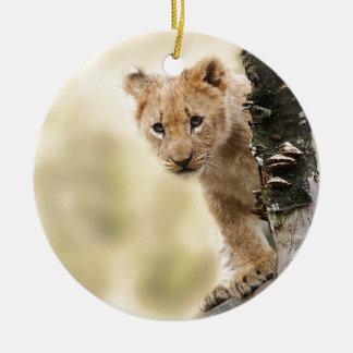 CUTE LITTLE LION CUB RANGE CERAMIC ORNAMENT