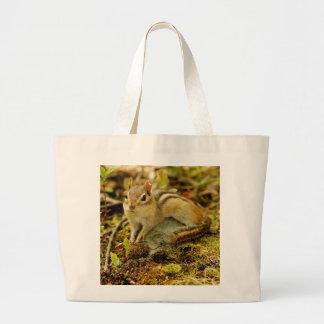 Cute Little Lounging Chipmunk Large Tote Bag