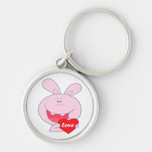 cute little love bunny cartoon character key chains