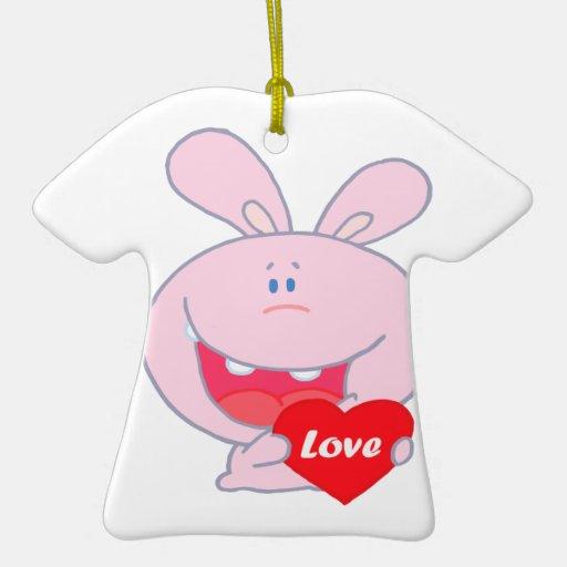 cute little love bunny cartoon character ornament