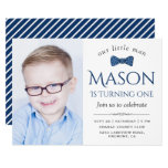 Cute Little Man Bow Tie First Birthday Party Invitation