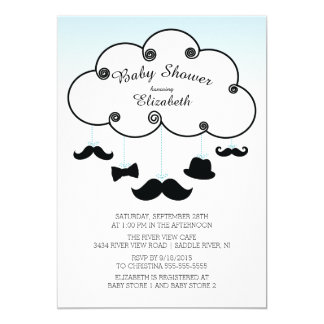 Cute Little Man Mustache Baby Shower Invitations