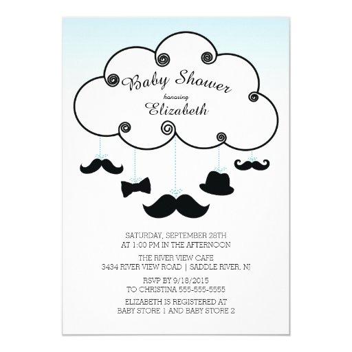 Cute Little Man Mustache Baby Shower Invitations | Zazzle