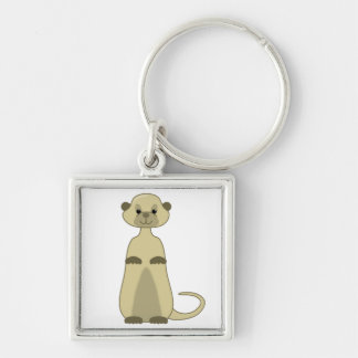 Cute Little Meerkat Animal Cartoon Silver-Colored Square Keychain