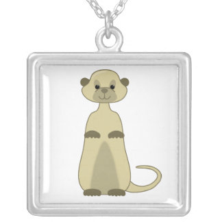 Cute Little Meerkat Animal Cartoon Silver Plated Necklace