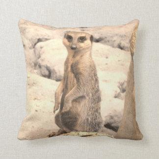 Cute Little Meerkat on Guard Throw Pillows
