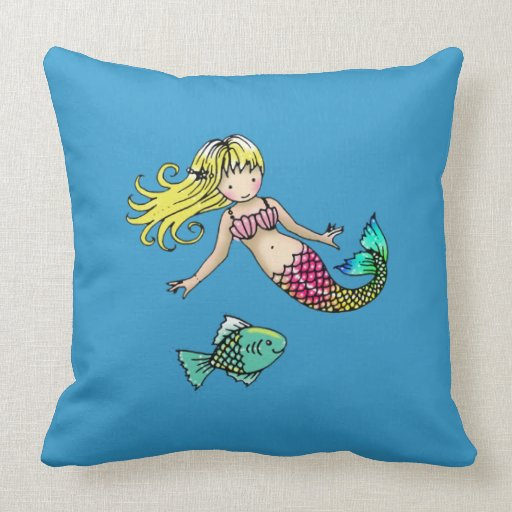 Cute Little Mermaid and Fish Pillow for Kids Zazzle