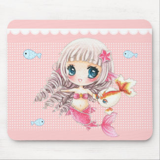 Cute little mermaid and kawaii fish mouse pad