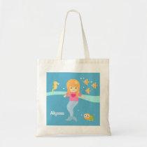 Cute Little Mermaid Girl Under the Sea Animals Tote Bag
