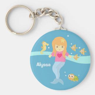 Cute Little Mermaid Girl Under the Sea Basic Round Button Keychain