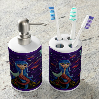 Cute Little Mermaid Girl with Moon & Flying Fish Soap Dispenser And Toothbrush Holder