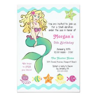 """Cute Little Mermaid 5"""" X 7"""" Invitation Card"""