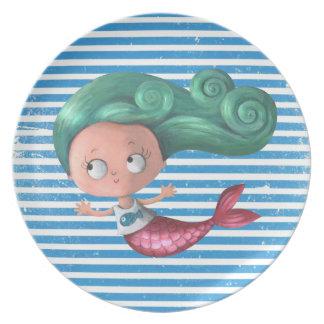 Cute Little Mermaid Melamine Plate