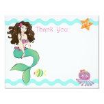Cute Little Mermaid Note Card 2 Custom Invitations