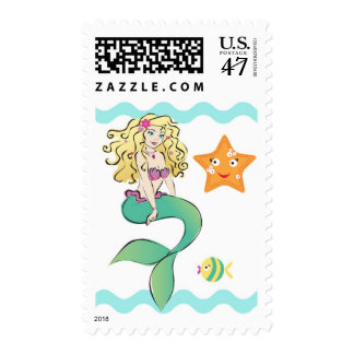 Cute Little Mermaid Postage Stamp