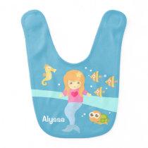 Cute Little Mermaid Sea Animals Baby Girl Bib