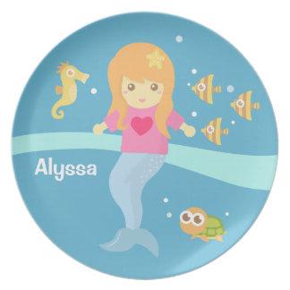 Cute Little Mermaid Sea Creatures for Girls Melamine Plate