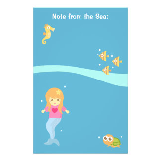 Cute Little Mermaid Sea Creatures For Girls Stationery