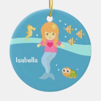Cute Little Mermaid Sea Creatures Girls Room Ceramic Ornament