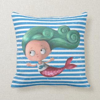 Cute Little Mermaid Throw Pillow
