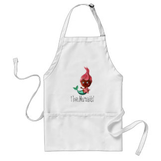 Cute Little Mermaid with Pink Hair Aprons