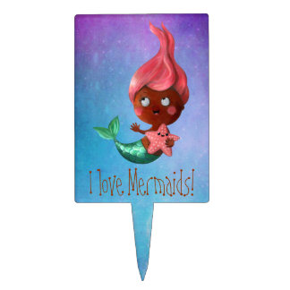 Cute Little Mermaid with Pink Hair Cake Topper