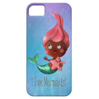 Cute Little Mermaid with Pink Hair iPhone 5 Covers
