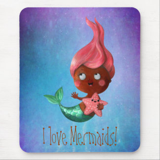 Cute Little Mermaid with Pink Hair Mouse Pad