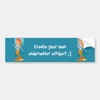 Cute little mermaid with red hair and blue eyes bumper sticker
