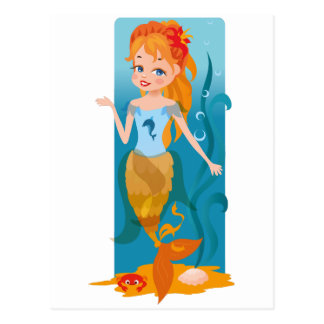 Cute little mermaid with red hair and blue eyes postcard