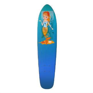 Cute little mermaid with red hair and blue eyes skateboard