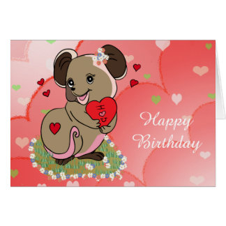 Cute little mice holding a heart card