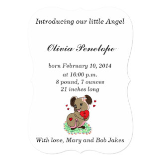 Cute little mice holding a heart 5x7 paper invitation card
