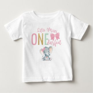 Cute Little Miss ONEderful Elephant 1st Birthday Baby T-Shirt