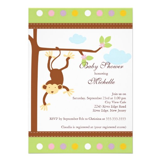 cute little monkey baby shower invitation 5 x 7 invitation card
