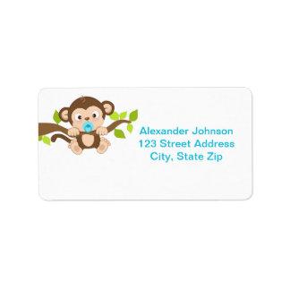 Cute Little Monkey Boy Address Labels